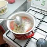Se pune peştele în supă, peste legume