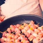 Yakitori înainte de a fi băgat la cuptor