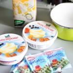 Ingrediente (smântână dulce, mascarpone, gelatină)...