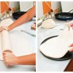 Întindem o foaie subţire din jumătate de cocă şi o punem într-o tavă măricică