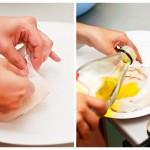 Coasem fiecare bucată de sepie în partea în care a fost capul si adăugăm 2 linguri de ulei de măsline în interior