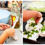 Curăţăm câte un căţel de usturoi pentru fiecare orătanie, îl tocăm mărunt şi-l îndesăm bine în brânză