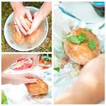Până când se pune purcelul la proţap, dacă musafirilor le e foame le distragem atenţia cu nişte cartofi copţi: se ung cu ulei de măsline, se pune sare mare, salvie, se închid în folie de staniol şi se bagă în jar.