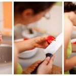 Spălăm roşiile, le curăţăm de cotoare şi le tocăm cubuleţe mici