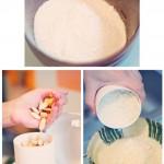 Zahăr pudră, migdale măcinate din care s-a obţinut o făină finuţă.