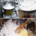 Pentru crema albă se bat albuşurile întâi la rece apoi pe baie de aburi până rezultă o compoziţie de bezea tare şi foarte lucioasă. După ce se răceşte se adaugă unt la temperatura camerei şi se încorporează uşor.