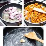 Se pune ceapa la călit apoi se adaugă gălbiorii. După ce se rumenesc se pune capacul şi se mistuie totul în sucul ciupercilor cam 20 minute. Separat, se pregăteşte tava pentru cuptor.