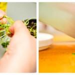 Alegem frunzuliţele de coriandru şi le tocmăm mărunt