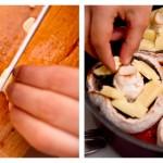Tocăm doi căţei de usturoi feliuţe şi îi distribuim în ciuperci