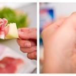 Pe un beţişor de frigărui punem alternativ cubuleţe de pepene şi feliuţe de prosiutto