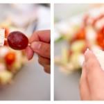 Înfigem pe beţişoare alternativ cubuleţe de gorgonzola şi boabe de struguri