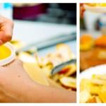 Stoarcem o lămâie şi o portocală şi punem zeama peste fructe