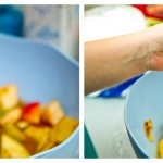 Facem frigăruile alternând mere, pere, portocale şi ananas