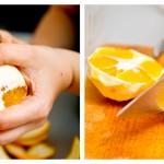 Curăţăm portocalele şi le tăiem cuburi