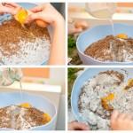 Punem peste sare ouăle, zeama de lămâie, apa şi amestecăm bine cu o lingură