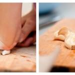 Zdrobim căţeii de usturoi ajutându-ne de lama unui cuţit