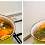 Adăugăm usturoi şi câteva frunzuliţe de dafin