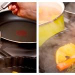 Luăm cu o paletă mare morcovii şi cubuleţele de portocală