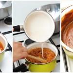 Se pregăteşte un sos de caramel din zahăr şi smântână dulce.