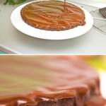 Se toarnă şi apoi se întinde caramelul peste prăjitură.