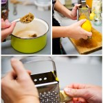 Se pregăteşte umplutura astfel: se face un sirop din zahăr de trestie (dacă nu găsim în comerţ), se rade coaja de la o portocală şi apoi ghimbirul.