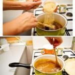 Când sosul este gata începem să turnăm în el treptat pesmetul. Se amestecă.