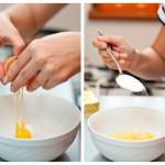 Punem într-un bol două ouă cu douălinguri de zahăr tos