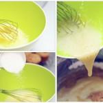 Separat, se bat ouăle bine. Se adaugă treptat zahărul şi se amestecă. Apoi se toarnă peste aluat.