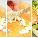 Se toacă ceapa verde, usturoiul şi se pun peste sucul de lime şi sosul de peşte.
