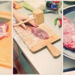 Carnea se curăţă de pieliţe şi alte impurităţi, se înveleşte în folie alimentară şi se bate cu un ciocan de lemn. Apoi se sărează, piperează şi se pune la fript.