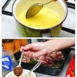 Se topeşte untul, se adaugă muştarul şi piperul şi apoi se amestecă.