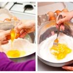 Într-un castron mare punem făina, spargem ouăle şi amestecăm cu o furculiţă
