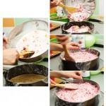 Apoi, se pune crema în tavă, având grijă ca marginile foliei alimentare să rămână mereu afară. Se nivelează.