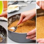 Biscuiţii se toarnă în tavă şi se tasează cu o lingură/ spatulă până când formează un strat uniform.