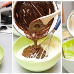 Jumătate din compoziţia cu brânză se toarnă în alt vas, apoi se pune ciocolata albă într-unul şi cea neagră în altul.