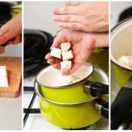 Ciocolata albă se taie şi ea în bucăţi mai mici şi se pune într-o crăticioară.