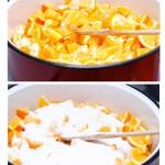 Portocalele se pun în cratiţă şi se pune peste ele un strat de zahăr.