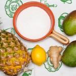 Mango, ananas, ghimbir, zahăr, lămâie.