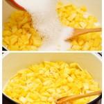 Se pune un strat de zahăr peste mango. Se amestecă.