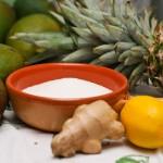 Mango, ananas, ghimbir, zahăr, lămâie (din profil).