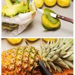 Se curăţă mango de coajă. Se taie frunzele ananasului.