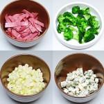 Pastramă de vită, broccoli, dovlecei verzi, brânză cu mucegai albastru (Paladin).