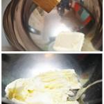 Untului moale (ţinut puţin la temperatura camerei) i se adaugă sare şi se amestecă.