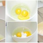 Ouăle, smântâna dulce şi puţină sar se bat uşor, fără să facă spume.