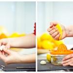 Curăţăm usturoiul şi stoarcem lămâia