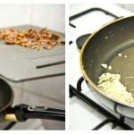 Punem usturoiul la călit în ulei de măsline şi amestecăm cu o paletă de lemn