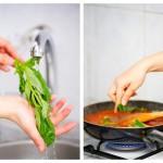 Spălăm o treime din busuioc şi îl adăugăm la sos, rupt cu mâna
