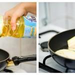 Într-o tigaie de prăjit, punem la încins ulei din belşug, când acesta este fierbinte, aranjăm câteva felii de vinete în tigaie