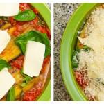 Adăugăm ultimele feliuţe de mozzarella şi un strat generos de Grana