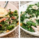 Adăugăm jumătate din gorgonzola şi o amestecăm cu restul compoziţiei, zdrobind-o uşor cu o lingură